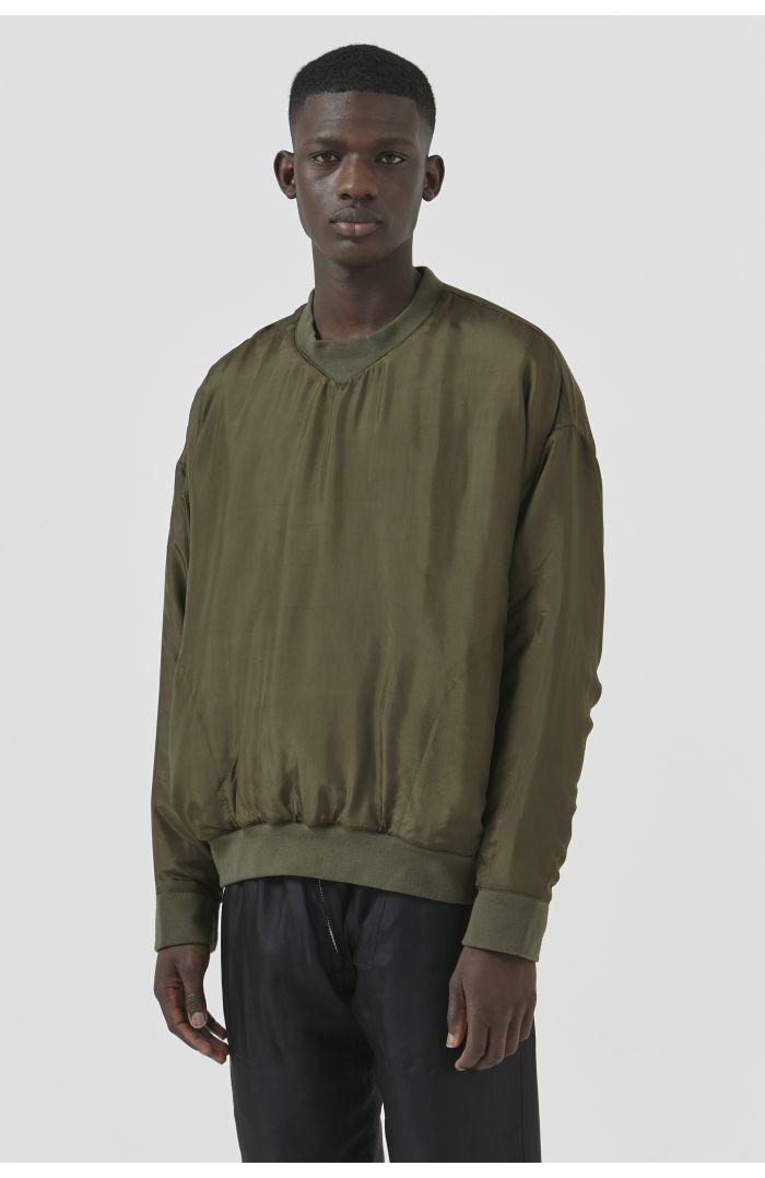 Vince Khaki Silk Sweatshirt