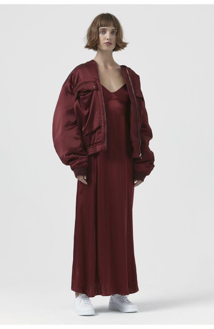 Rene Burgundy Silk Bomber