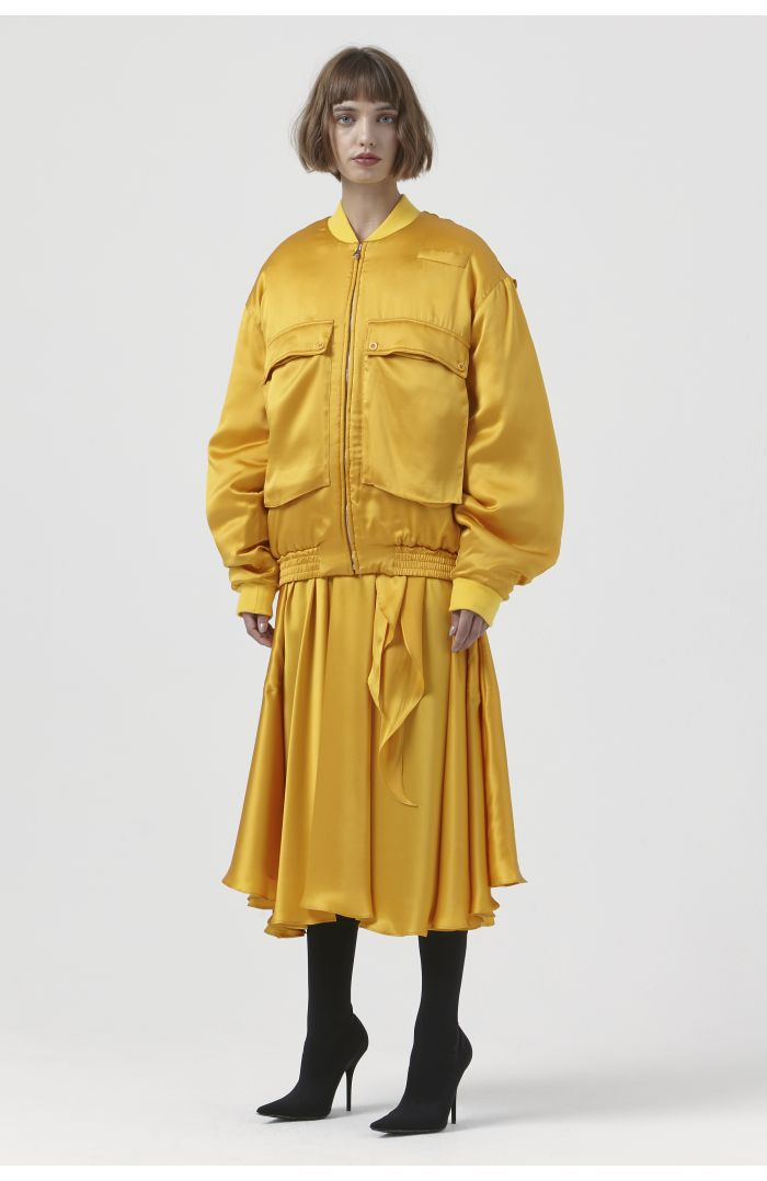 Rene Yellow Silk Bomber