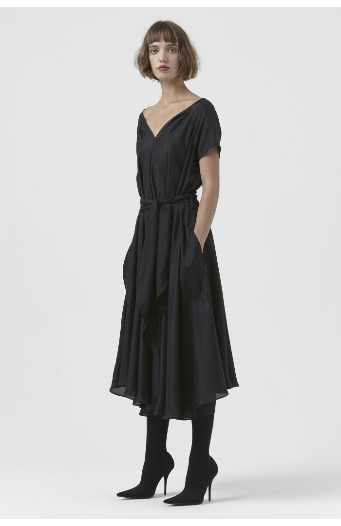 Isadora Black Silk Dress