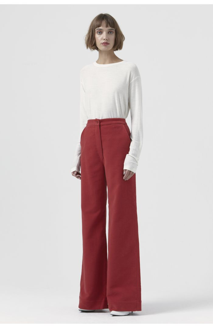 Anna Red Organic Cotton Trousers