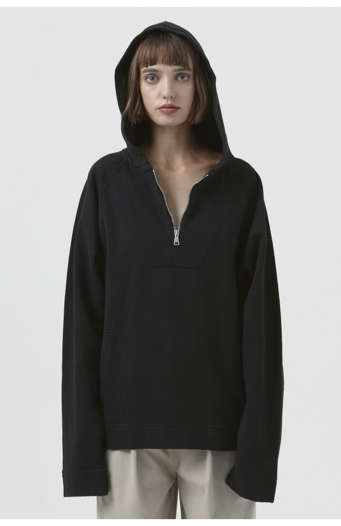 Rico Black Organic Cotton Zip Hoodie