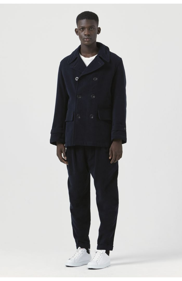 Marzio Navy Organic Cotton Pea Jacket