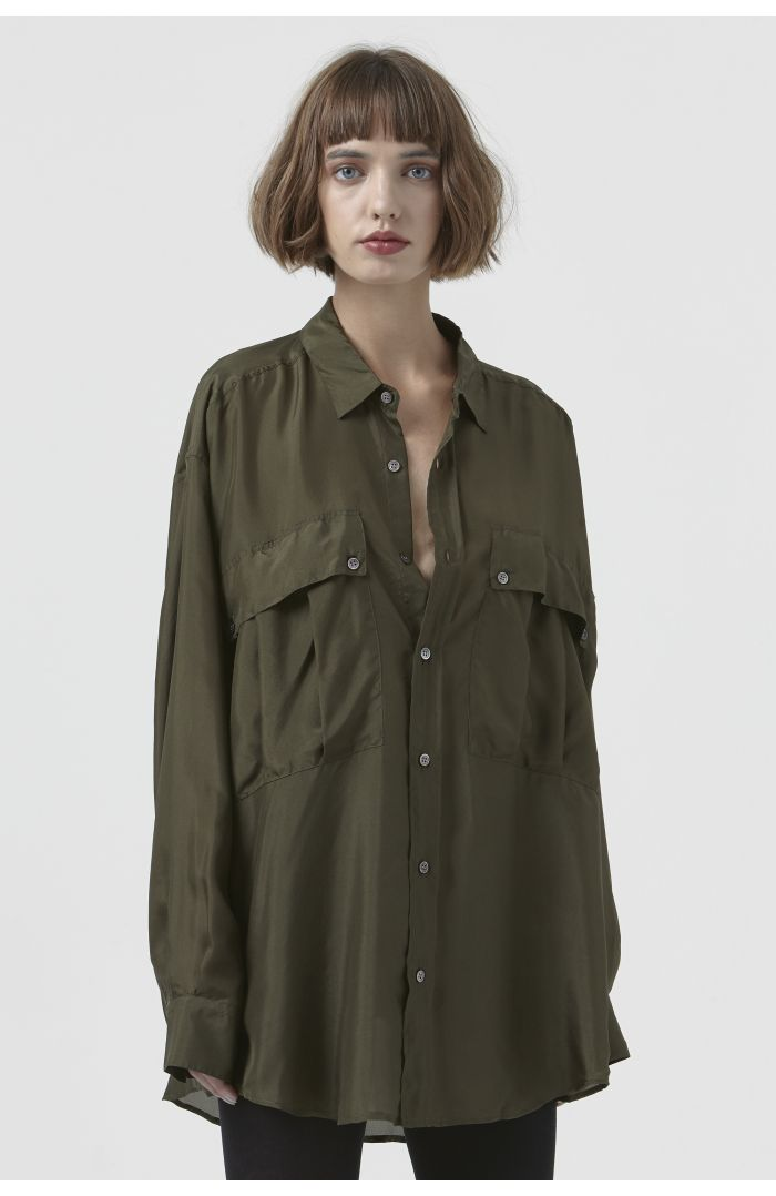 Alex Dark Khaki Silk Shirt