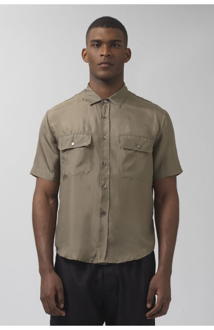 Nigel khaki silk shirt