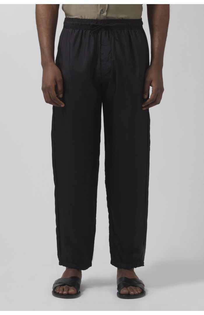 Lucio black silk trousers
