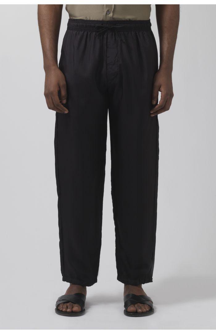 Lucio black silk trousers