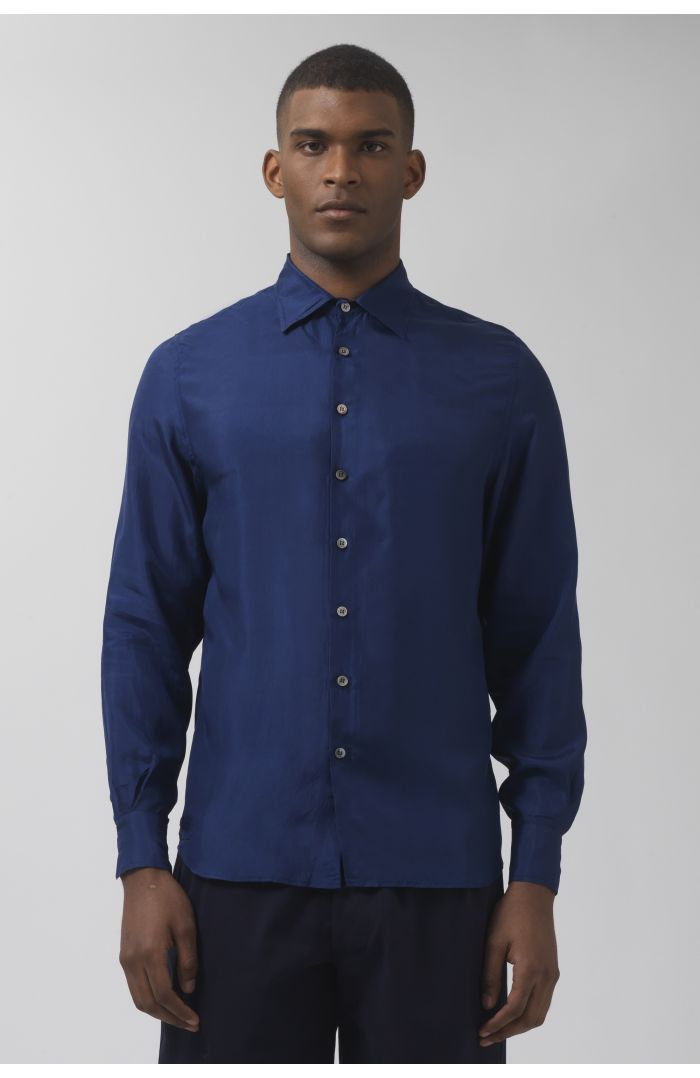 Brendan deep blue silk shirt