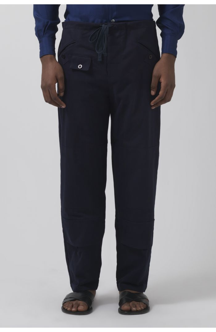 Eric navy organic cotton trousers