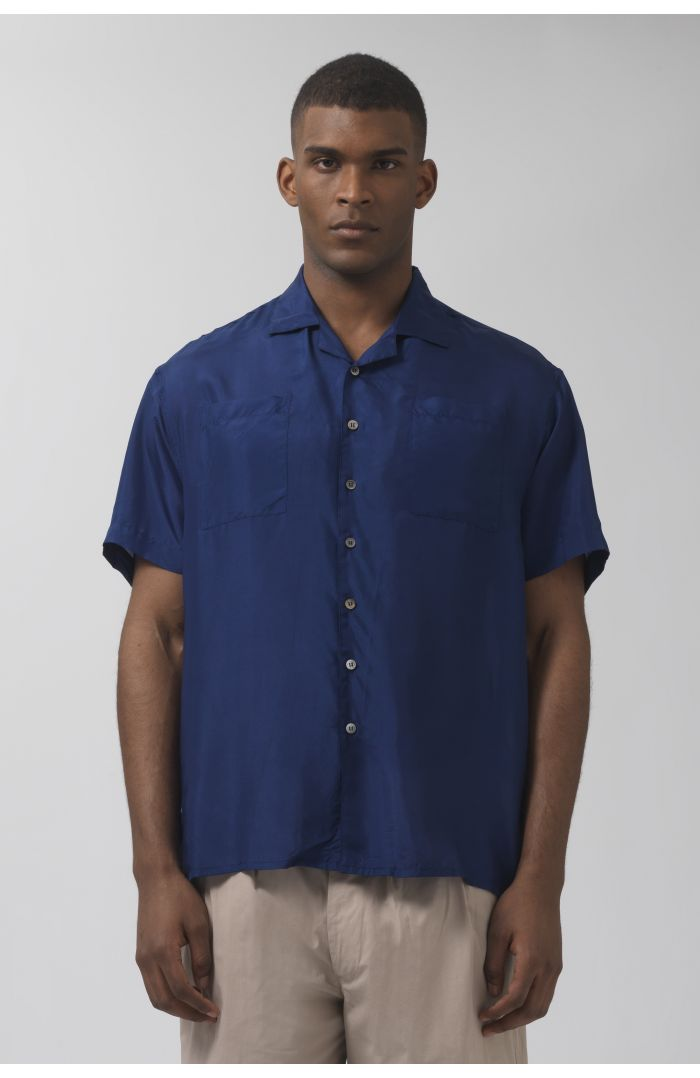 Beach deep blue silk shirt