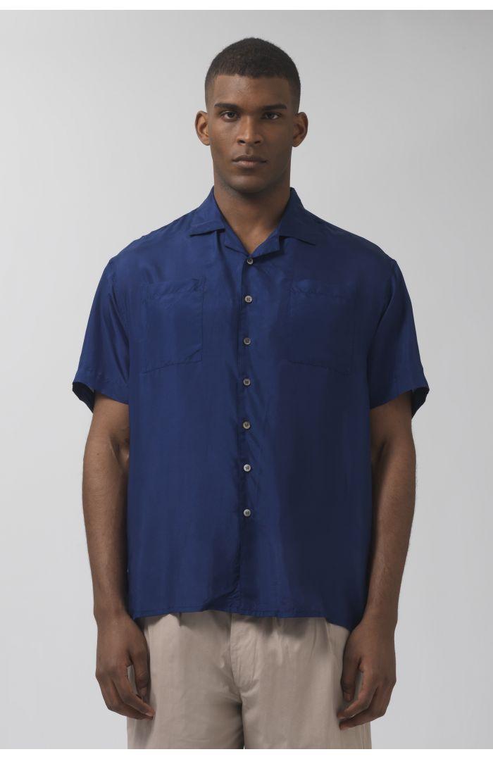 Beach deep blue silk shirt