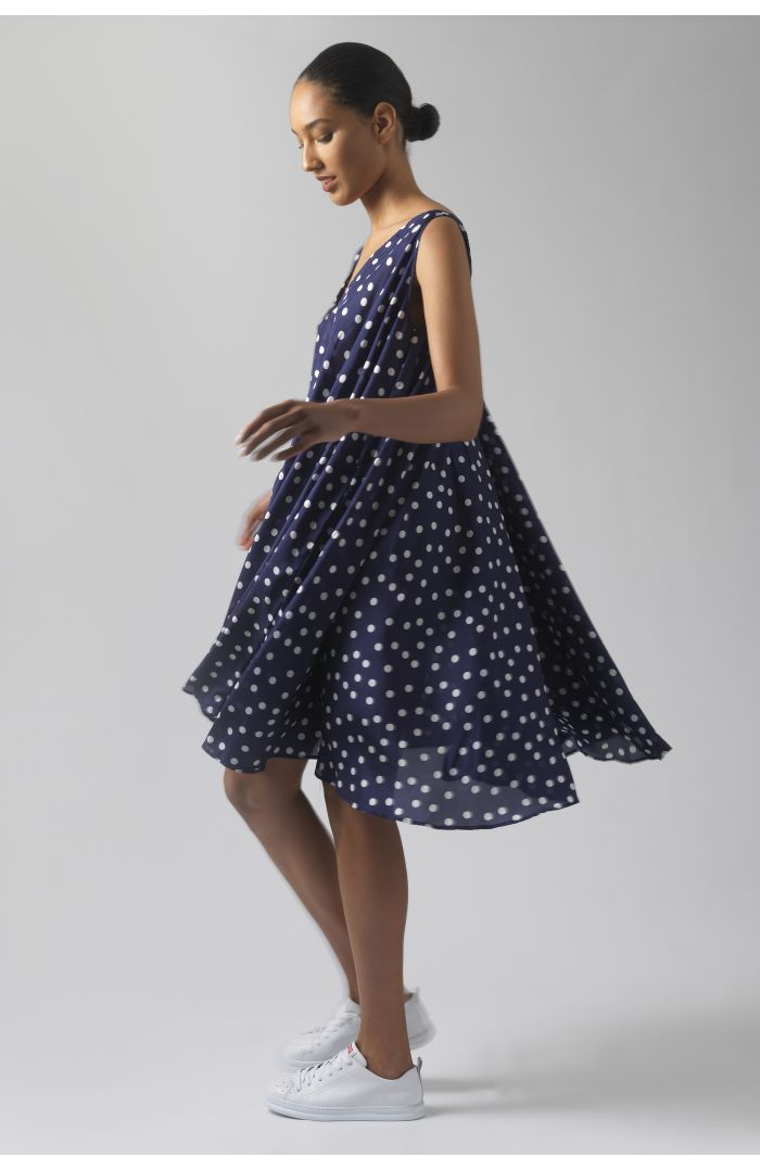 Dorina polka dots silk dress