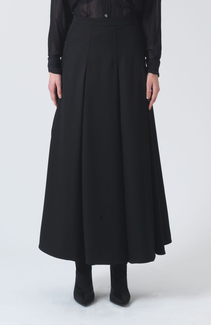 Rose Black Wool Skirt