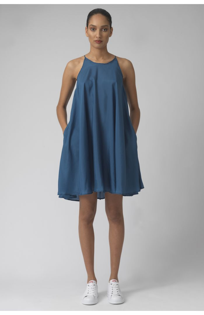 Valeria teal silk dress