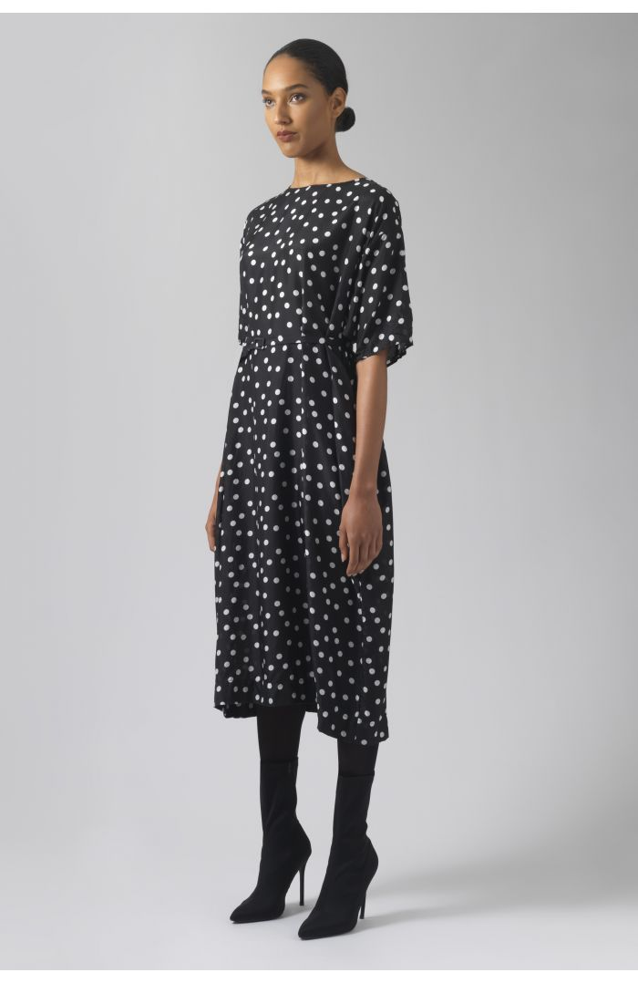 Magdalou polka dots silk dress