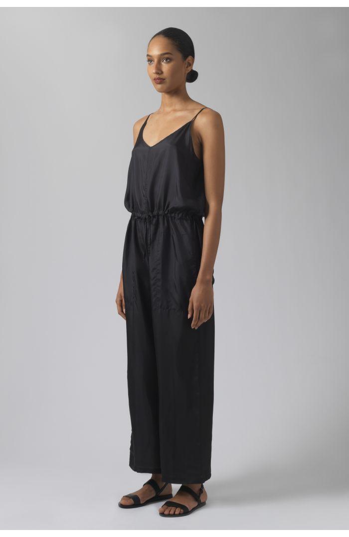 Della black silk jumpsuit