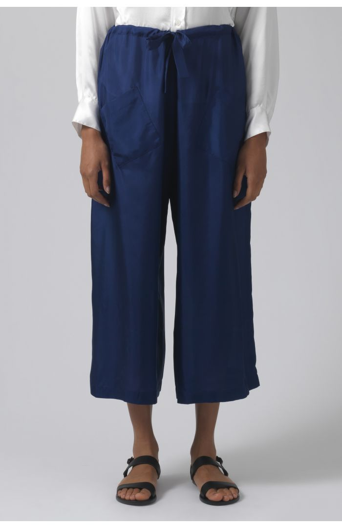 Tina deep blue silk trousers