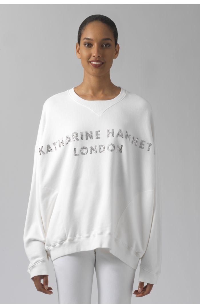Vince white organic cotton Swarovski sweatshirt