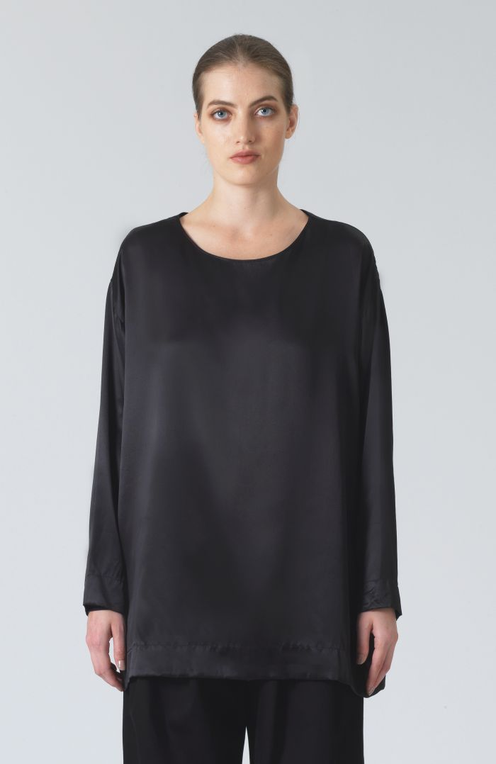 Meg Black Silk T-Shirt