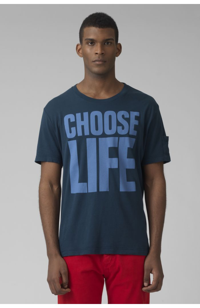 choose life organic cotton teal t-shirt