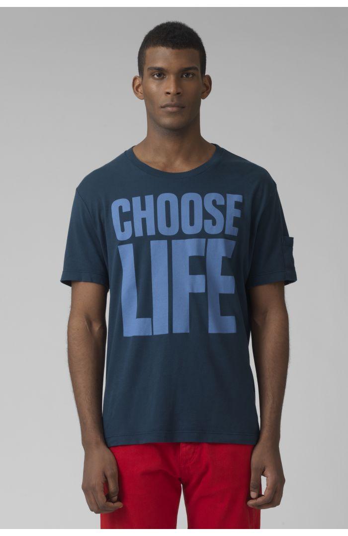 choose life organic cotton teal t-shirt