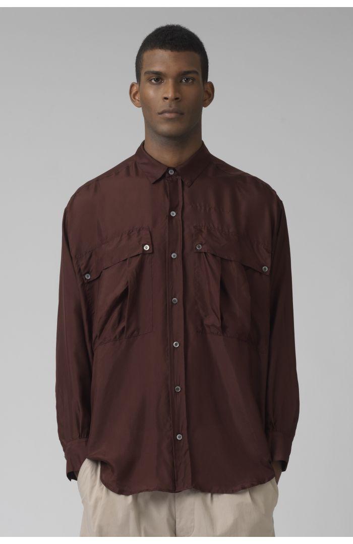 Alex warm brown silk shirt