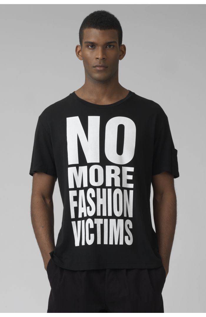 NO MORE FASHION VICTIMS black organic cotton black t-shirt