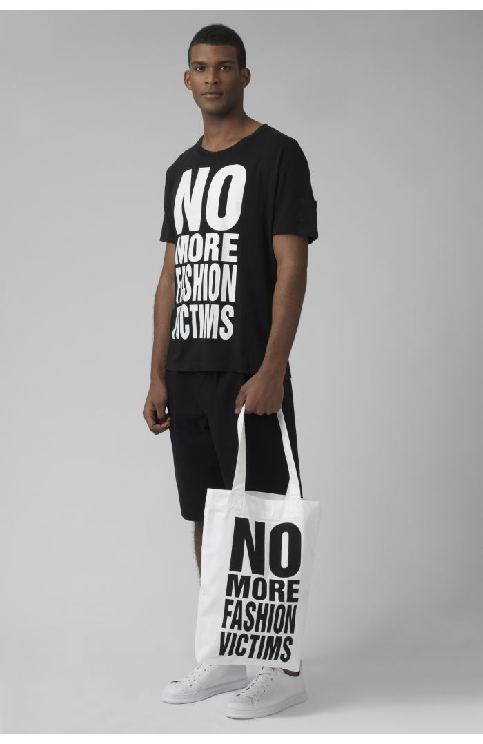 NO MORE FASHION VICTIMS WHITE Organic cotton bag