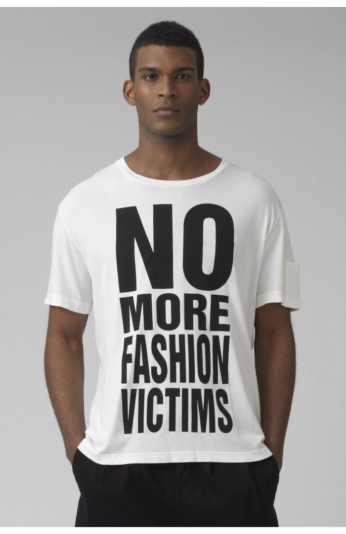 NO MORE FASHION VICTIMS organic cotton white t-shirt