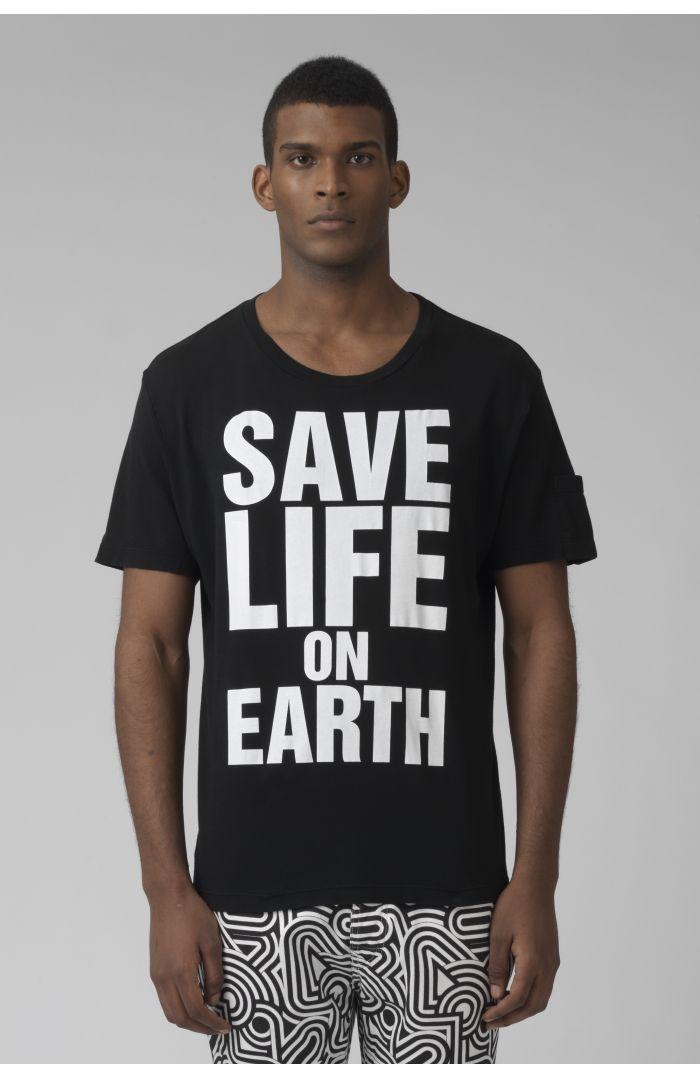 Save life on earth Organic cotton black t-shirt
