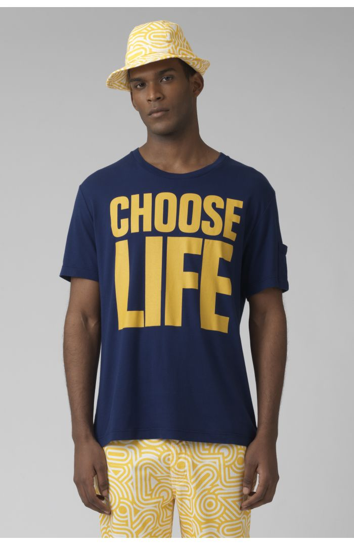 choose life organic cotton deep blue t-shirt