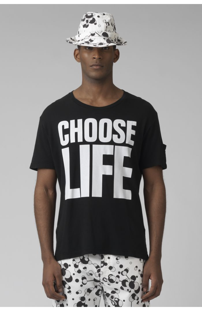 Choose life organic cotton black t-shirt