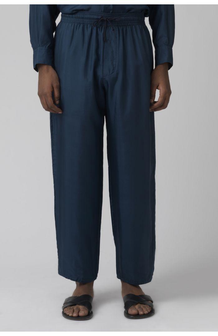 Lucio teal silk trousers