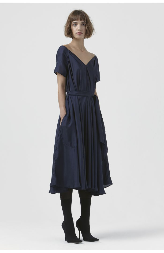 Isadora Navy Silk Dress