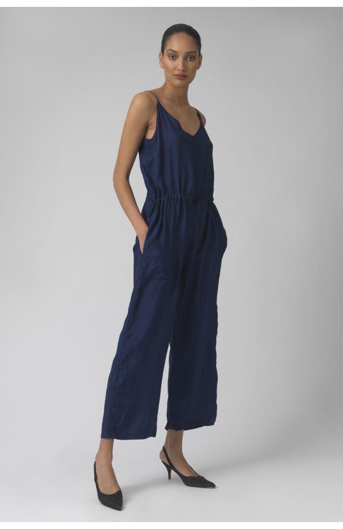 Della deep blue silk jumpsuit