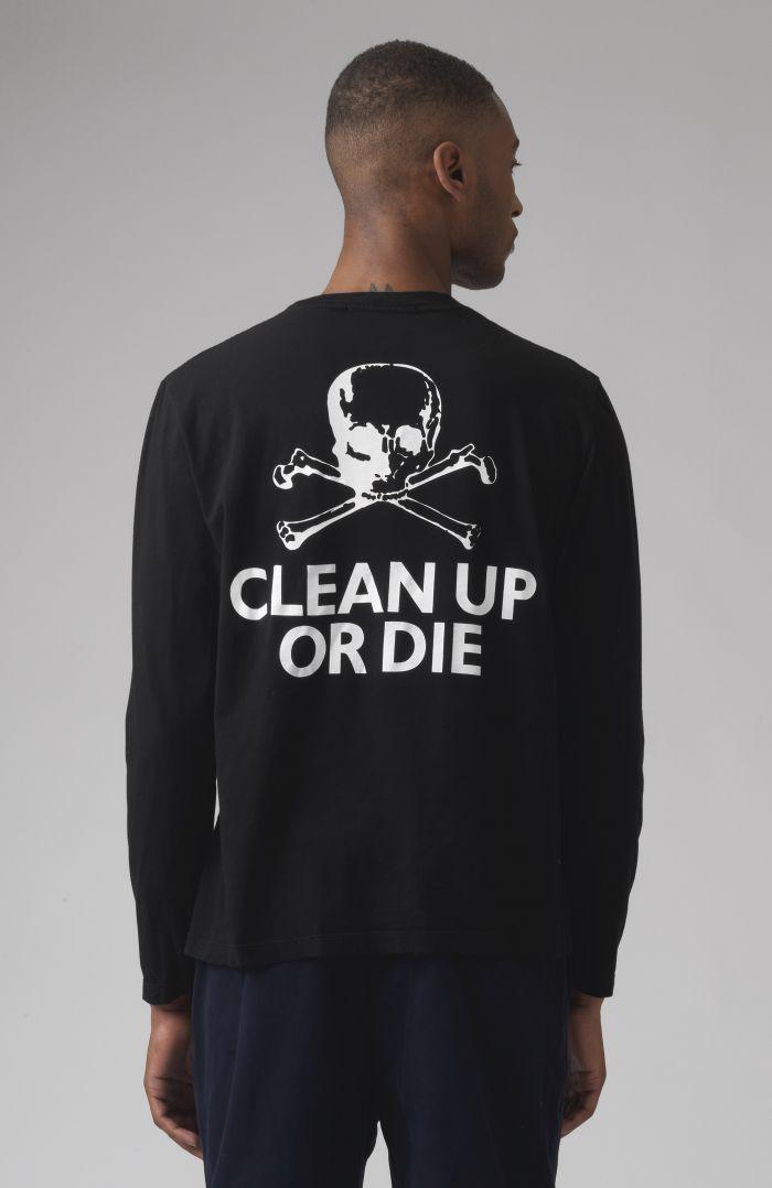 Clean Up Or Die Black Organic Cotton Long Sleeves T-Shirt