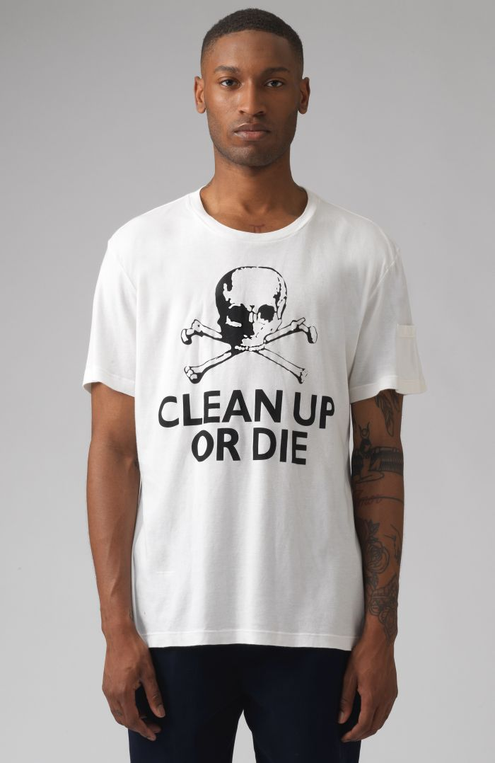 Clean Up Or Die White Organic Cotton T-Shirt