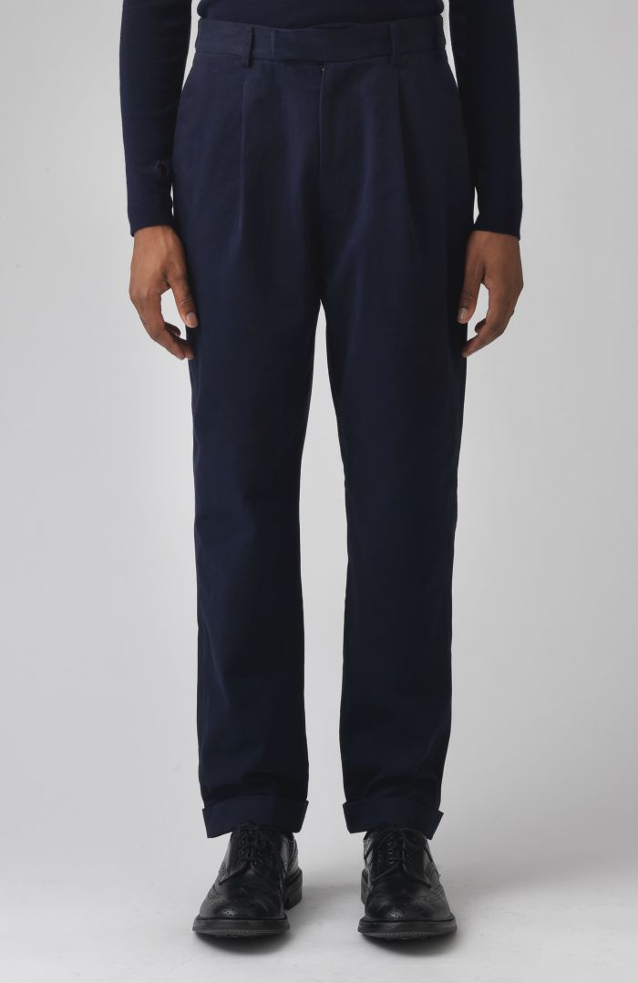 Rupert Navy Organic Cotton Trousers