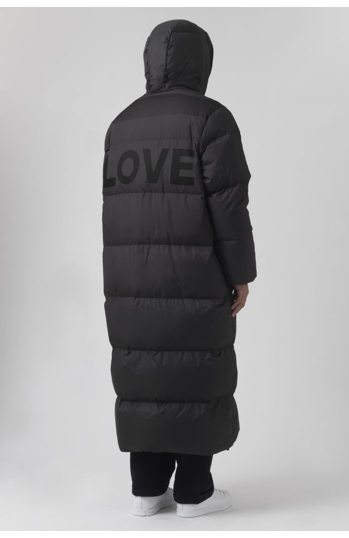 BROMIO BLACK RECYCLED POLYESTER PRINTED PARKA