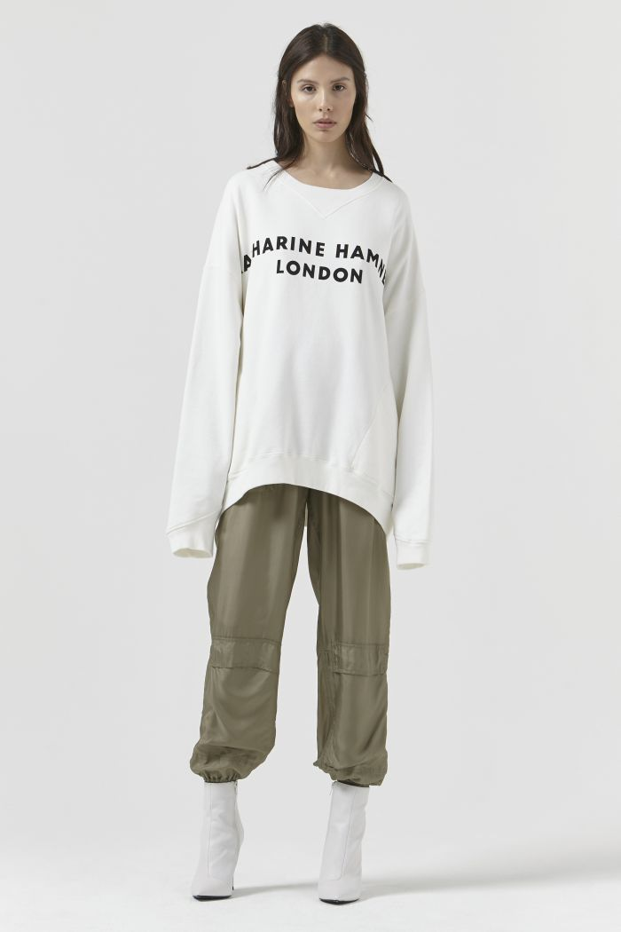 Vince Organic Cotton White Logo Sweatshirt