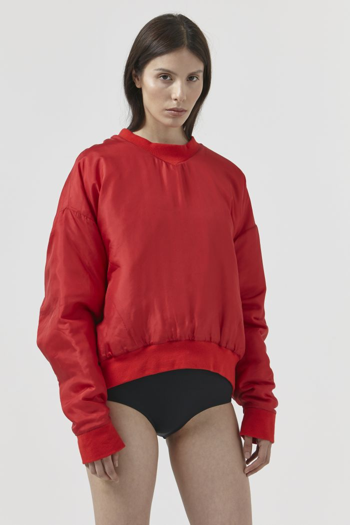 Vince Red Silk Sweatshirt