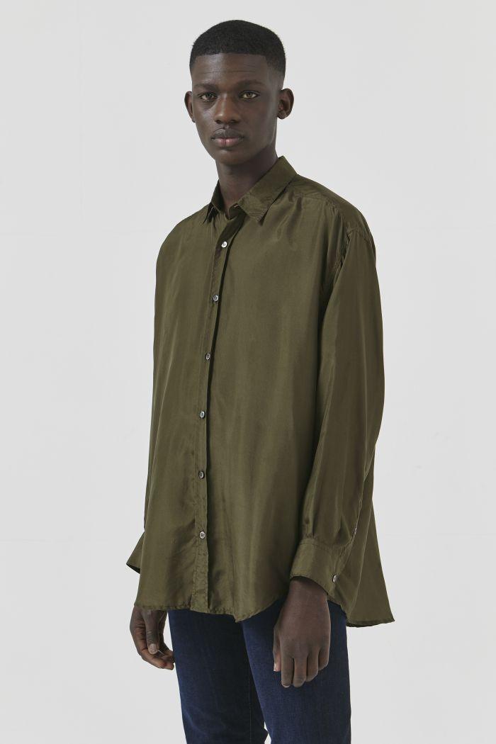 Nicola Khaki Silk Shirt