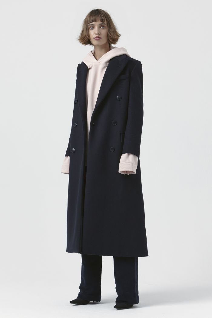 Simona Navy Recycled Wool Coat