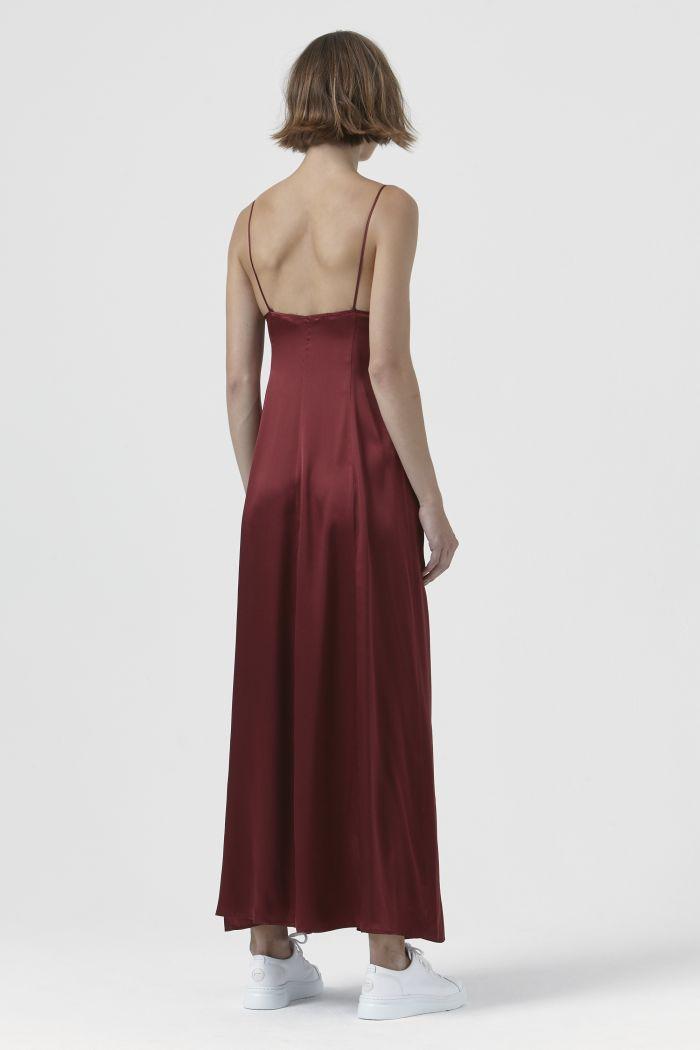Madama Burgundy Silk Satin Dress