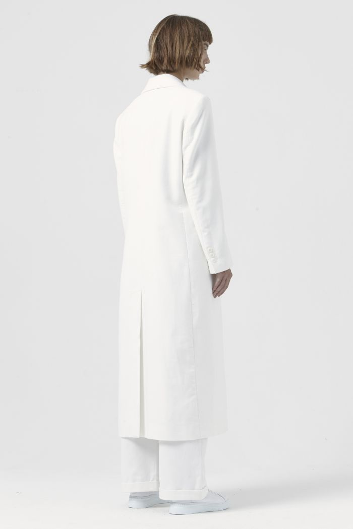 Simona White Organic Cotton Coat