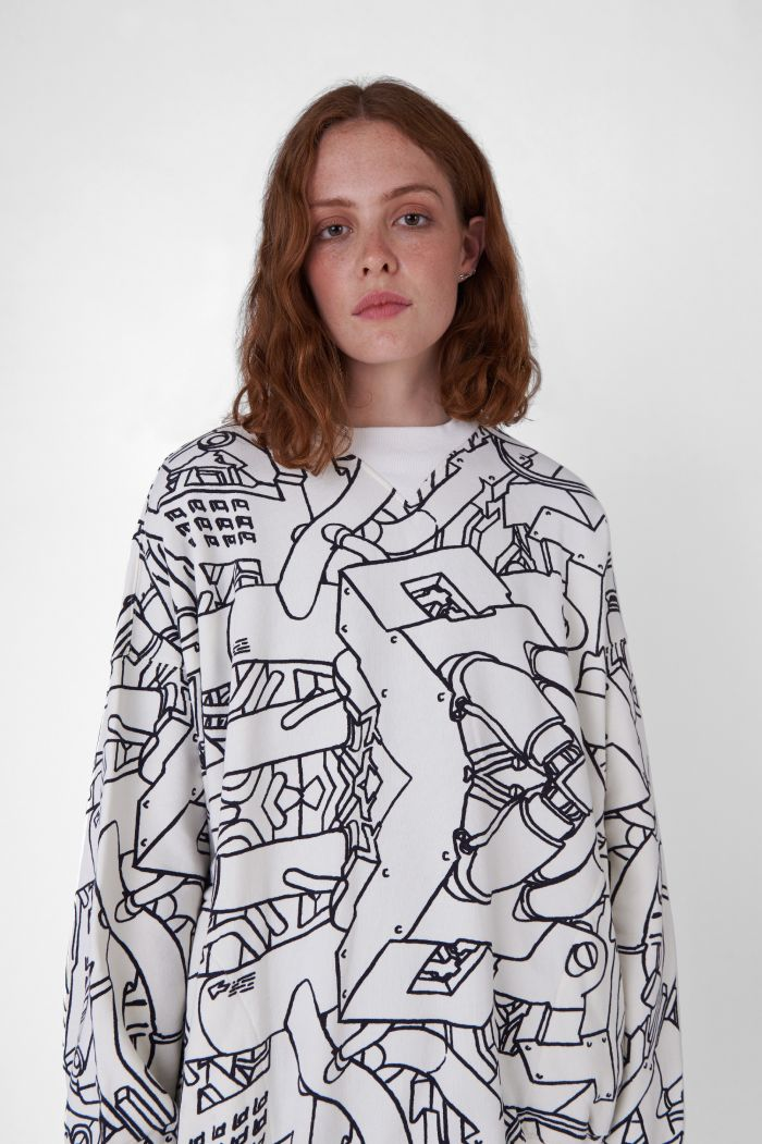 VINCE PRINTED ORGANIC COTTON SWEATSHIRT
