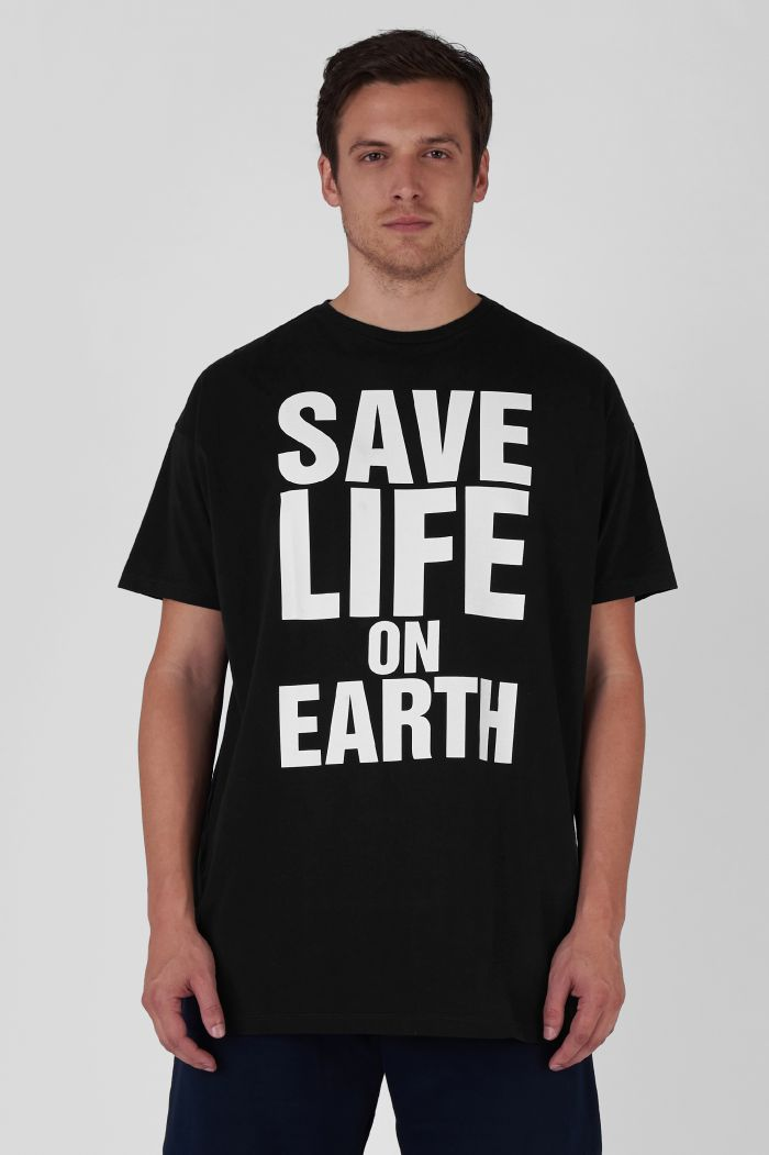 SAVE LIFE ON EARTH ORGANIC COTTON OVERSIZED BLACK T-SHIRT