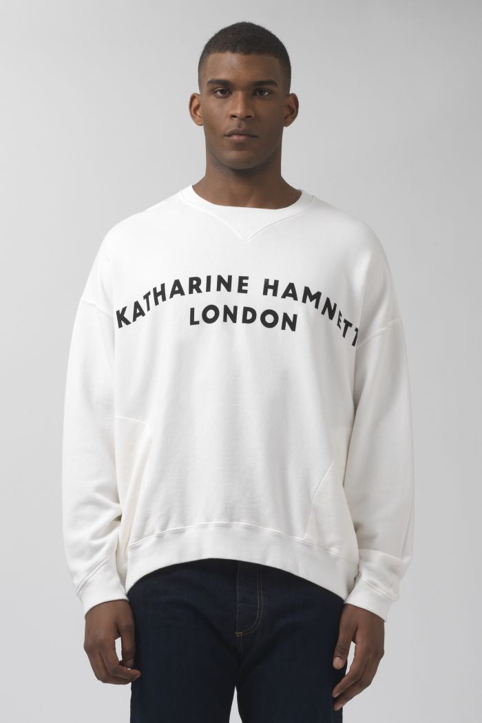 Vince White Organic Cotton Logo Sweatshirt