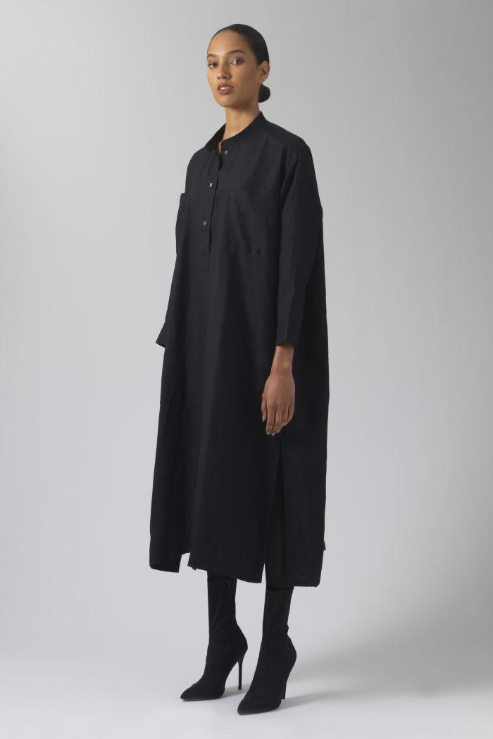 Kath black linen dress