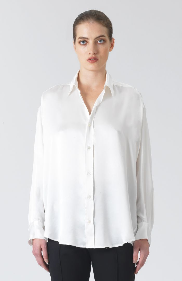 Nicola White Silk Satin Shirt